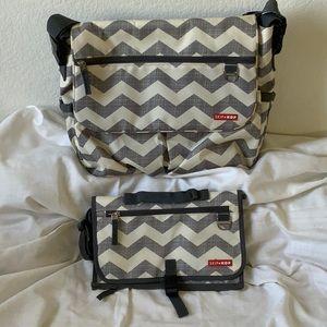 NWOT chevron print skip hop baby bag w/ extra bag